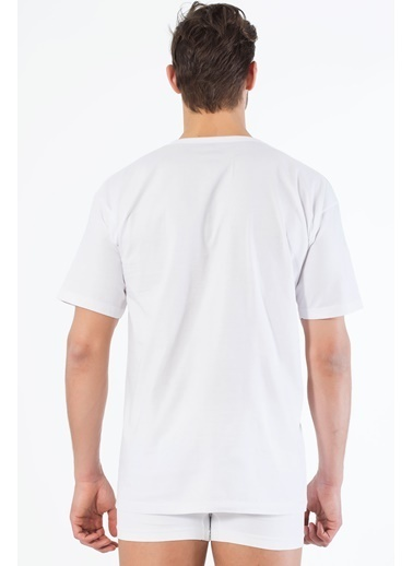 Siyah İnci 2'li Pamuklu V Yaka Kısa Kol T-Shirt Beyaz
